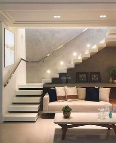 Loving this room with enjoyment of spaces under the stairs! Home Stairs Design, Railing Design, Interior Stairs, Modern House Design, Home Interior Design, Staircase Design Modern, Stair Design, Stairs In Living Room, House Stairs