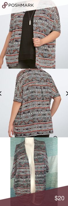 """NWOT Torrid Tribal Aztec Black Pink Open Cardigan New without tags. Beautiful Tribal design with multiple colors. Open front and short sleeve. Very lightweight. 26"""" long, 58"""" bust. Size 0 from Torrid is a large or a 12. torrid Sweaters Cardigans"""