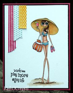 Paper Perfect Designs by Kim O'Connell: Stamping Bella Uptown Girl Sandy and her Sombrero, MFT Washi Patterns/ Washi tape Die-Namics