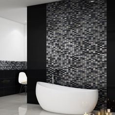 These beautiful silver and black mosaic tiles are made from natural stone, glass and chrome. Perfect as kitchen or bathroom mosaic tiles and as mosaic border tiles.