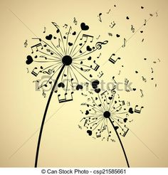 Background with dandelion and hearts and music notes. eps10
