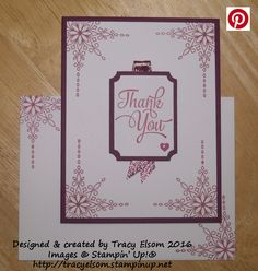 Thank you card created using the Star of Light Stamp Set from the Stampin' Up! 2016 Holiday Catalogue (available September 1st), and their One Big Meaning Stamp Set.  http://tracyelsom.stampinup.net