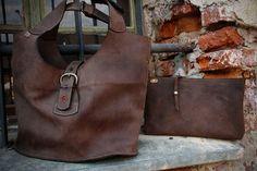 Brown Vintage Leather Shoulder Bag with Clutch Set by ladybuq, $210.00