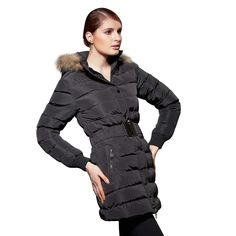 NXH New Fsahion Winter Jacket Woman Black Super Slim Warm Keeper Windbreaker Luxury Parkas Mujer With Fur Wool  Hood