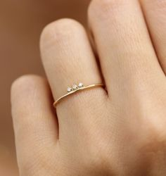 Solid Gold Diamond Stacking Ring, Simple Diamond Ring, Three Stone Diamond Ring – New Fashion Rings - edlen Schmuck Simple Diamond Ring, Three Stone Diamond Ring, Diamond Stacking Rings, Gold Diamond Wedding Band, Three Stone Rings, Diamond Cluster Ring, Rose Gold Engagement Ring, Vintage Engagement Rings, Diamond Jewelry