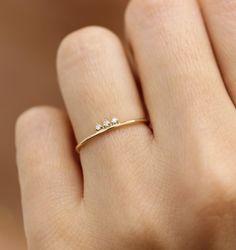 Solid Gold Diamond Stacking Ring, Simple Diamond Ring, Three Stone Diamond Ring – New Fashion Rings - edlen Schmuck Simple Diamond Ring, Three Stone Diamond Ring, Diamond Stacking Rings, Gold Diamond Wedding Band, Three Stone Rings, Diamond Cluster Ring, Diamond Jewelry, Jewelry Rings, Jewellery Stand