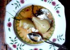 Poached Pears with Vanilla Coconut Cream