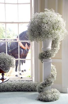 Baby's breath pillar décor. Would be gorgeous for a winter wedding. Include some mini lights in white or other appropriate color. And wow!