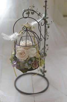 Birdcage Ring Bearer Wedding Ring Pillow & Birdcage by FinoJapan Interior Room Decoration, Room Interior, Ring Pillow Wedding, How To Preserve Flowers, Bird Cages, Wedding Rings Vintage, Flower Boxes, Ring Bearer, Paper Flowers