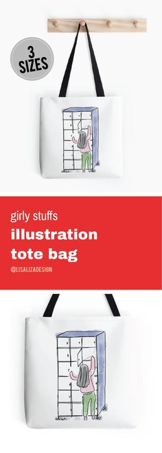 Back To School Locker Doodle  Girly stuffs Daily Lifestyle Illustration Tote Bag  Great gift ideas for women  (Also available in mugs, cups, shirts, duvet covers, acrylic block, purse,   wallet, iphone cases, baby onsies, clocks, Throw pillows, samsung ca