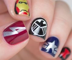 Marvel Avengers Nail Art // The Nailasaurus - Visit to grab an amazing super hero shirt now on sale! Gel Designs, Nail Polish Designs, Cute Nail Designs, Marvel Nails, Avengers Nails, Nail Art Blog, Nail Art Diy, Uk Nails, Hair And Nails