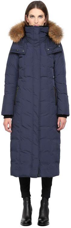 Jada Ink Long Down Coat With Fur Hood