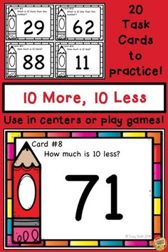 60348 best math for second grade images on pinterest second grade 10 more 10 less mental math task cards to use in a center fandeluxe Choice Image