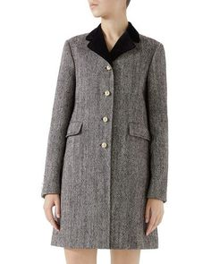 Gucci Velvet-Collar Wool Coat w/ Pearly Buttons Gucci Fashion, Luxury Fashion, Tall Girl Fashion, Plus Size Fashionista, Glamour, Wool Coat, Capsule Wardrobe, Neiman Marcus, Velvet