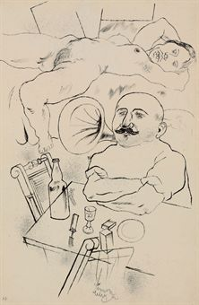 George Grosz (1893-1959)  Athlet with Nachlass stamp (on the reverse)  brush and India ink on paper  23 1/8 x 15 7/8 in. (23.1 x 40.3 cm.)  Painted in 1922  Estimate $25,000 - $35,000