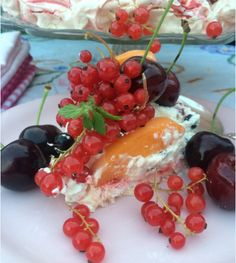 PAVLOVA WITH RED CURRANTS, BLACK CURRANTS, CHERRIES, ABRICOT & WHIPPED CREAM, Recipe: http://foodlovestories.com/