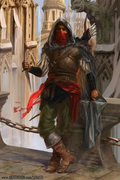m Half Elf Ranger Leather Armor Cloak Dagger Longbow male urban City street story Veshtar Ilkanav [Art] DnD d&d lg Fantasy Male, Fantasy Warrior, Fantasy Rpg, Medieval Fantasy, Fantasy Artwork, Ranger Dnd, Elf Ranger, Dnd Characters, Fantasy Characters