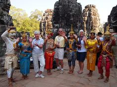 Westerner Tourists taking picture with Apsara dancers. #travel #cambodia