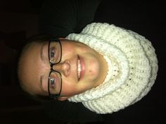 My beautiful Rebecca wearing loom knitted cowel. 4ply RedHart yarn, two strands, wrap loosely for great looking project.