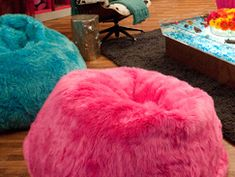 PB Teen Furalicious Beanbags in Ivory dyed Hot Pink and Blue