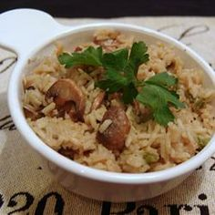 Fresh Mushroom Rice Pilaf  Allrecipes.com..   made this last night,, super yummy..  didnt add the green peppers though.