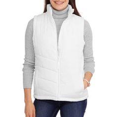 Maxwell Studio Women's Classic Puffer Vest, L, White