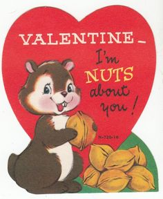 Happy Squirrel with Nuts Valentine Greeting Card Single Layer Vintage