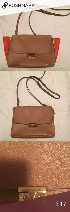 J. Crew Camel & Orange Crossbody Bag You can wear 2 ways, see pic! Closure is missing one piece of hardware as pictured but still functions. A little wear and tear noticeable as pictured. Inside in great condition with interior zip pocket. Has a designer inspo/feel! J. Crew Bags Crossbody Bags