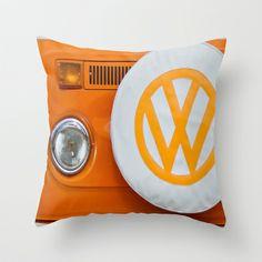 Volkswagen Orange Throw Pillow by Alice Gosling - $20.00  #VW #Volkswagen #Camper #VWCamper #Bus #OrangeVW
