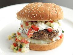 Burger with Creamy Feta Sauce and Tomato-Cucumber Relish via @TheFoodLab