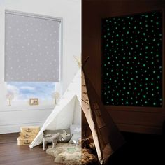 Glow In The Dark Blackout Roller Blind in Grey. This Roller Blind includes guarantee and child safety features. Cute Bedroom Decor, Baby Room Decor, Dream Rooms, Dream Bedroom, Childrens Blinds, Monochrome Bedroom, Minimal House Design, Home Room Design, Aesthetic Bedroom