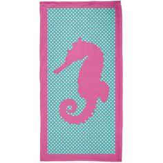 Pink Seahorse Polka Dot All Over Plush Beach Towel | AnimalWorld.com