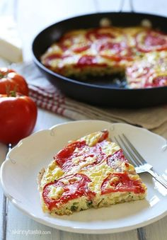 Tomato and Zucchini Frittata - Garden tomatoes, summer zucchini, and Asiago cheese – scrumptious!