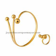 pulsera con anillo de diseno senllico en acero de color dorado para mujer-SSBTG922754