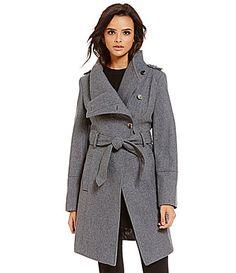 Guess Envelope Collar Asymmetrical Wool Trench #Dillards