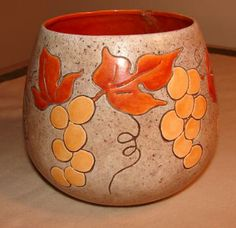 Studio Hand Crafted Pottery Vase Signed Joan with Natural Warm Colors Featuring Incised Grapes & Leaves by LookBehindYou for $15.00 #zibbet
