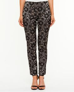 Jacquard Print Slim Leg Pant - A rich jacquard fabric brings glamour to your everyday look. Jacquard Fabric, Fall Trends, Clothes Horse, Slim Legs, Everyday Look, Pajama Pants, Glamour, Summer Styles, My Style