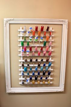 I will be doing this!! Perfect to keep all my thread out of the way, yet easy to get to when working on a big project