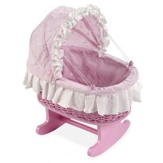 Cuna para muñeas mecedora de mimbre rosa 40905