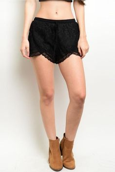 Mustard Seed Black Crochet Shorts
