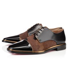 Christian Louboutin Mens Flat Lace Up in Brown for Men (black)