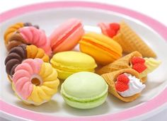 Hot out of the oven are these French Pastry Erasers! There are multiple order options available for each of the three treats in this collection, which include the French Cruller Doughnut, the Cream Filled Waffle Cone, and the Delicious Macaroons.