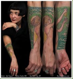 I love that I've admired these as posters for years, and here they are as tattoos :-) ~ Art Nouveau and Art Deco Tattoos