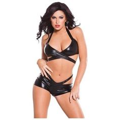 05d164b9d99 Allure Lingerie Kitten Collection Wet Look Wrap and Shorts One size.  Unleash your inner vixen in this wet look set. The top and the boy short  both feature ...