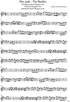 Free sheet music for sax: Hey Jude - The Beatles score and track (Sheet music free and playalong) Alto Sax Sheet Music, Saxophone Music, Guitar Sheet Music, Free Flute Sheet Music, Soprano Saxophone, Tenor Sax, Guitar Songs, Guitar Chords, Trumpet Sheet Music