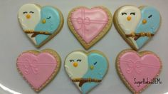 Valentine cookies by SugarBakedJEMs hearts, love birds