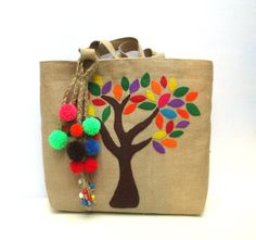 Handmade  tote bag with colorful leaves tree and hand by Apopsis