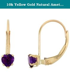10k Yellow Gold Natural Amethyst Leverback Earrings 4mm Heart Shape 0.50 ct, 9/16 inch. Simplicity of design has nothing to do with cost, and everything to do to bringing out and highlighting the natural beauty of things, and in this case a beautiful matched pair of genuine gemstones. To highlight your mood, match the color of your eyes or your outfit, or just simply to be your birthstones. These earrings are 10 karat gold. There are no earring backs to lose or fuss with, and there are no...