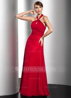 Evening Dresses - $129.99 - A-Line/Princess Halter Floor-Length Chiffon Evening Dress With Ruffle Bow(s) (017014553) http://jjshouse.com/A-Line-Princess-Halter-Floor-Length-Chiffon-Evening-Dress-With-Ruffle-Bow-S-017014553-g14553
