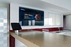 Samsung television professionally installed in bar recess. with Bang & Olufesn sound.